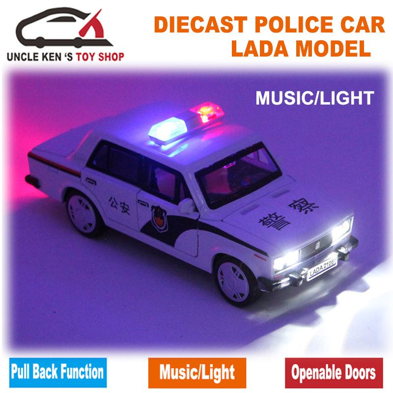 <font><b>Scale</b></font> LADA Russian Police Car, Diecast Models, Boy Toys With Gift Box/Openable Doors/Pull Back Function/Music/Light