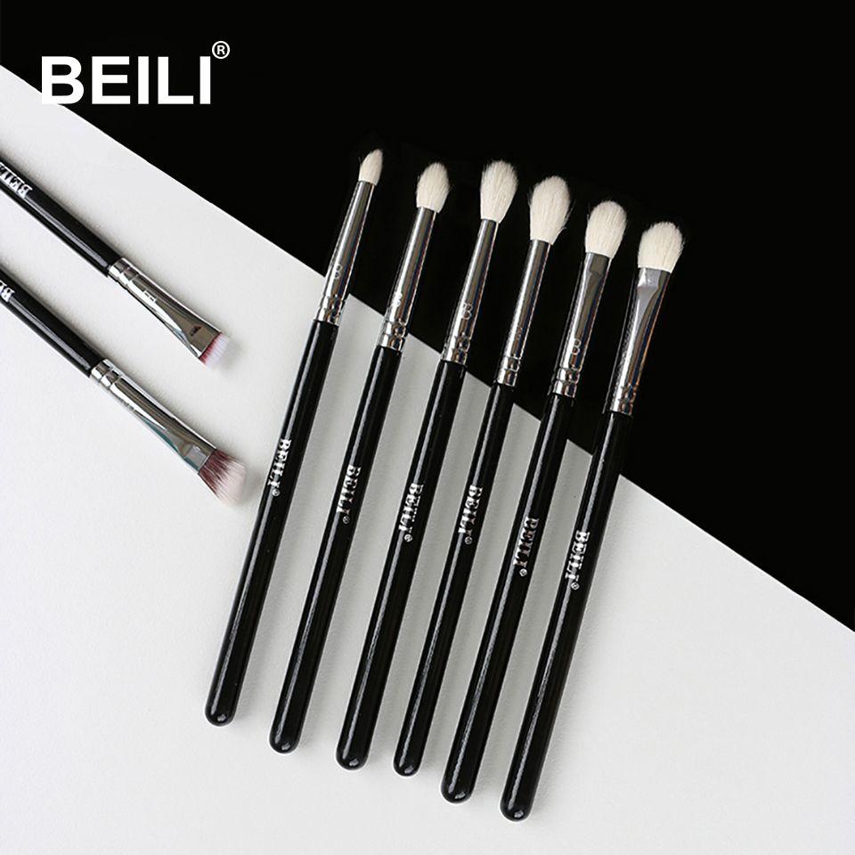 BEILI 8 pièces Classique Noir pinceaux de maquillage Pro Chèvre synthétique Cheveux ombre à paupières Sourcils Mélange fumé Maquillage Brosse Ensemble
