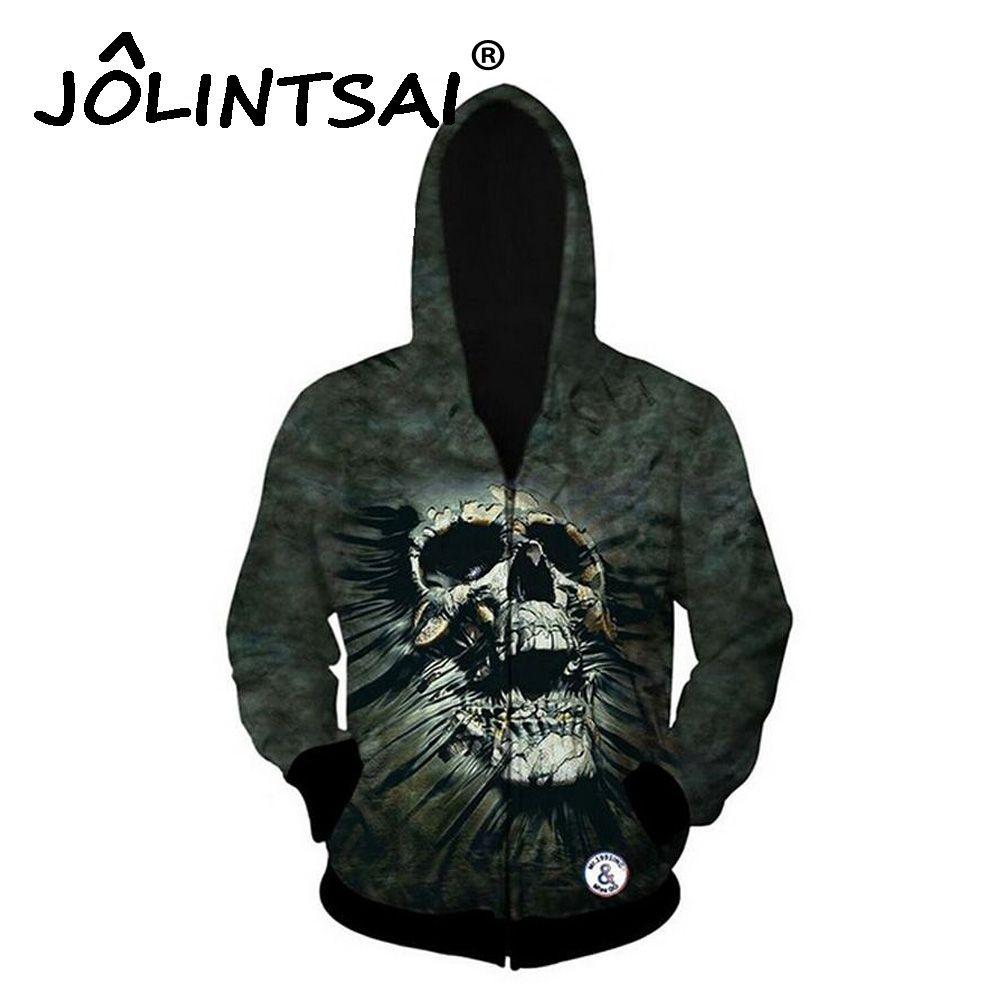 2017 Spring New Fashion Men Hoodies Zipper Hip Hop 3D Skulls Print Sweatshirt Novelty Hoodies Men Outwear Brand Clothing