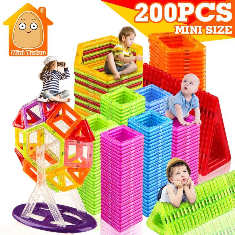 Nouveau 200 pcs Mini Magnétique Blocs De Construction Des Blocs De Construction Jouets Briques Aimant Designer 3D Bricolage Jouets Pour Les Enfants Garçons Filles