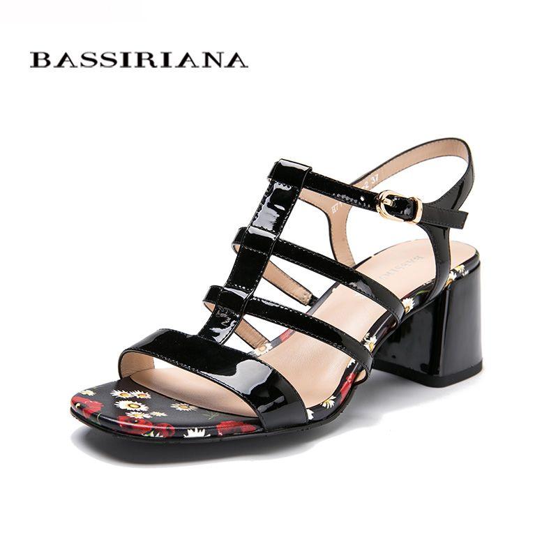 NEW Woman sandals Patent leather Black Back Strap Fashion Flower print Medium heels shoes 35-40 Free shipping BASSIRIANA