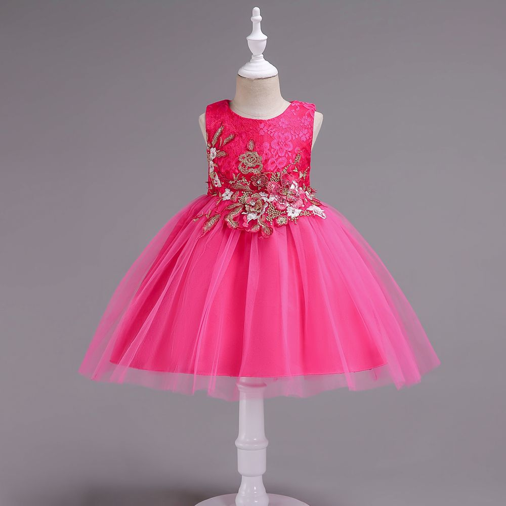 dress girl wedding new princess Stage performance Wedding presiding girls dress princess dress summer girl tutu dresses