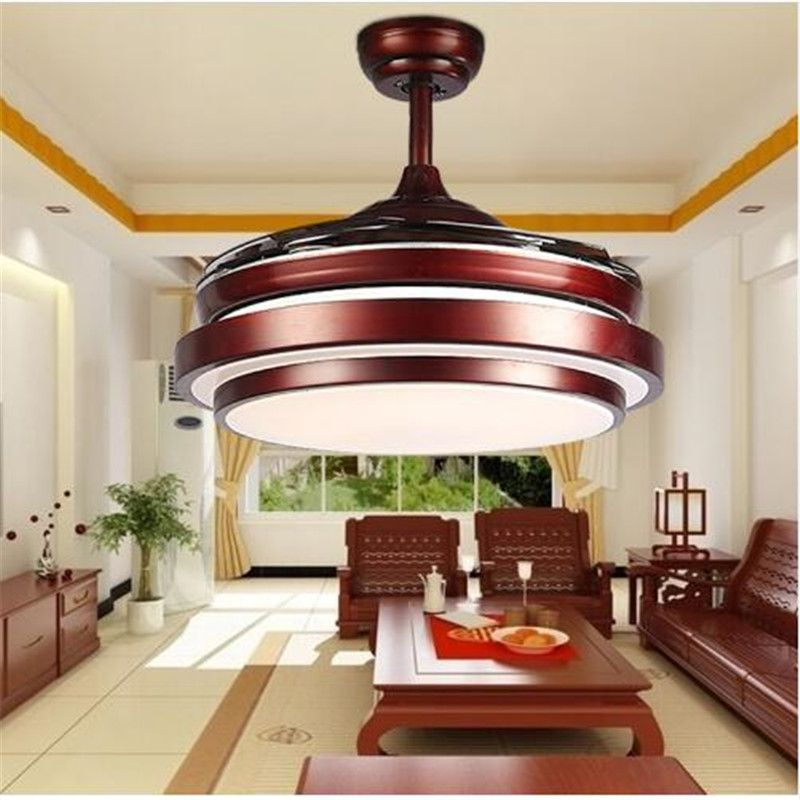 Ceiling fans lamp 42 inch 108cm LED living room ceiling light 85-265V brown Dimming remote control free shopping ceiling fan
