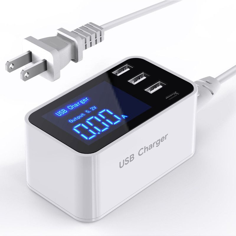 Quick Charge Smart Mobile Phone USB Charger 3 Port USB Type C Fast Charging Charger Wall Power Adapter Led Display Desktop Strip