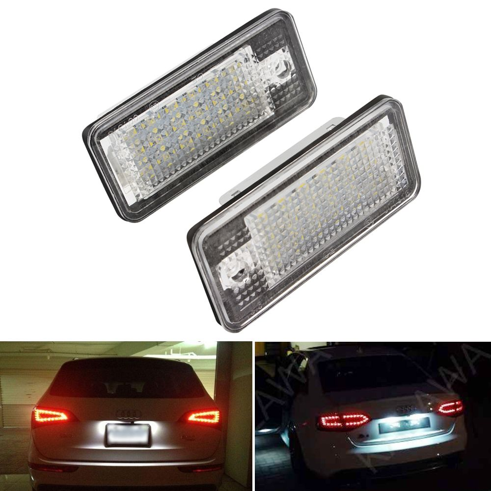 1 Pair For Audi Number Plate Light LED Car License Plate Lamo for Audi A3 A4 A6 A8 Q7 RS4 RS6 Car Styling Auto Light Source 5W