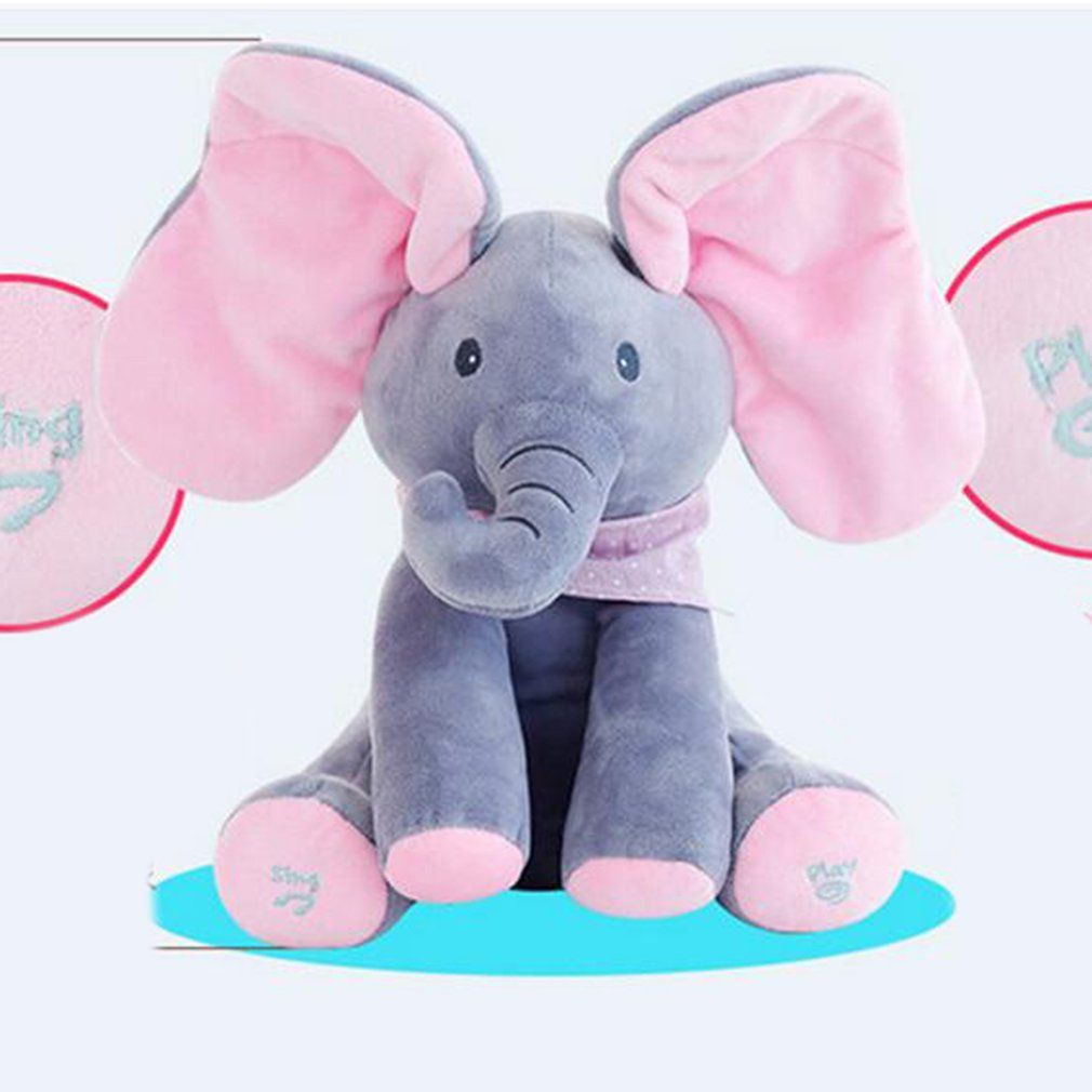 Peek-a-boo Plush Elephant Peekaboo Elephant Electric Blinking with Concert Singing Gray Plus Red English Version Stuffed Toy