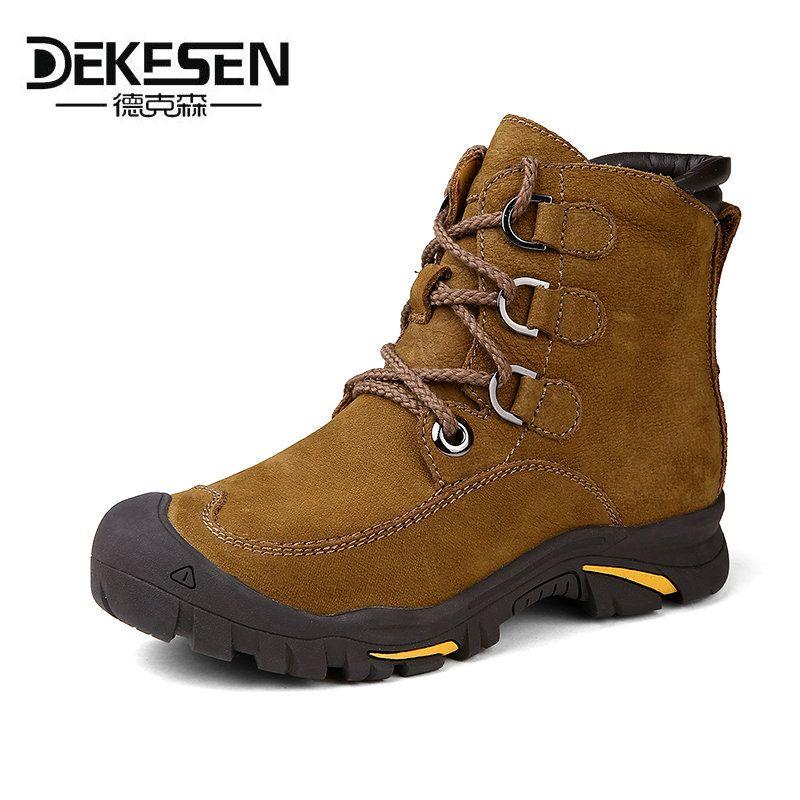 DEKESEN 2016 Hombres Botas para el Ruso, primera Capa de Cuero de Vaca Zapatos de Hombre, invierno Nieve botines, botas de seguridad de Los Hombres Más El tamaño 6-12