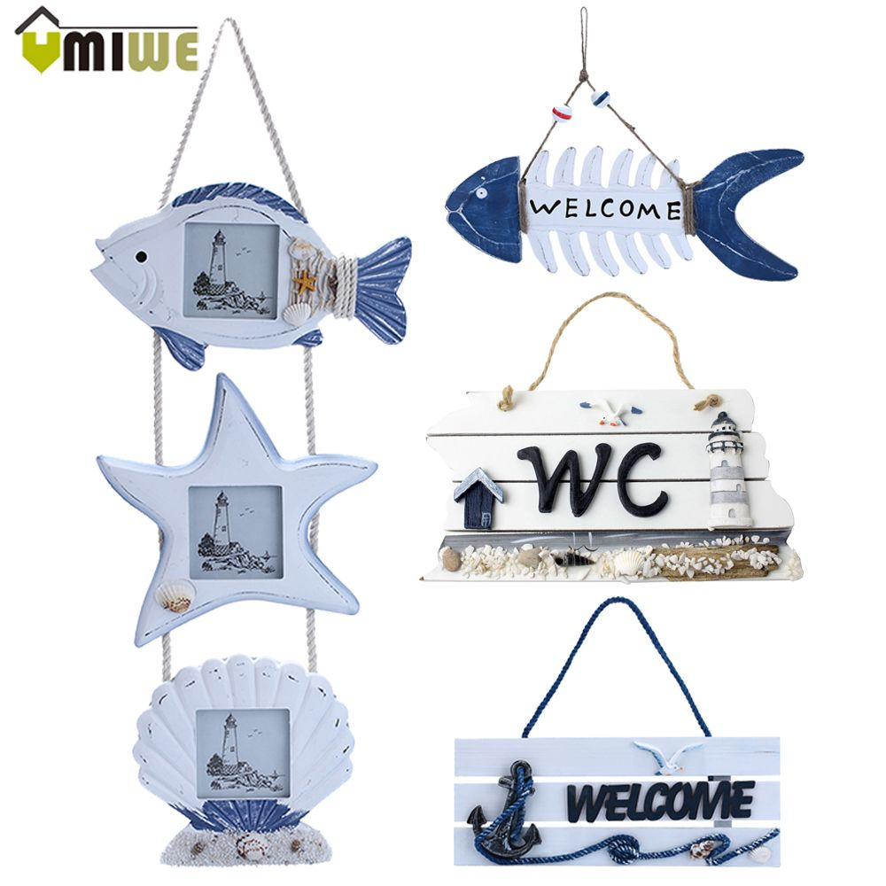 Mediterranean Style Vintage Wall Welcome Sign In Home Decor Decorative Plaque Bars Nordic Wooden Tower Welcome Wall Door Hanger