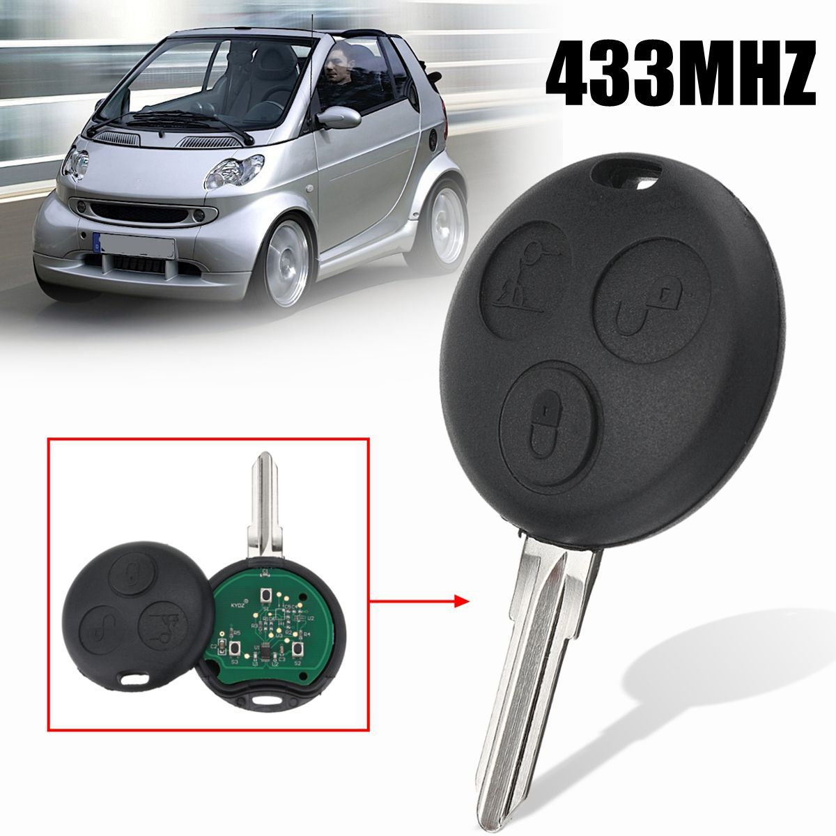 3 Buttons Car Remote Key Fob Case Shell with Chip 433Mhz For Mercedes/Benz Smart City Passion Pulse Roadster ForTwo 2002 2003