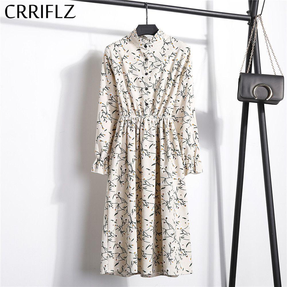 Nouveau 2019 taille haute élastique velours côtelé Vintage robe a-ligne femmes pleine manches fleur Plaid imprimer robes Slim Feminino CRRIFLZ
