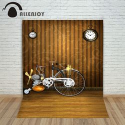 Christmas background vinyl Bike bicycle clock wood retro vintage new born photo studio professional customize backdrop