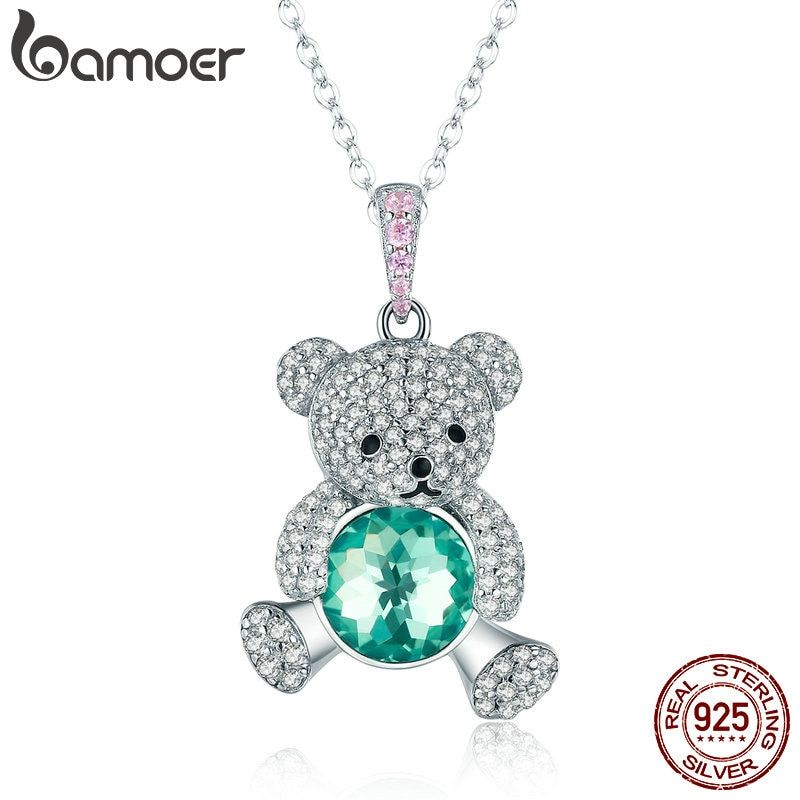 BAMOER Trendy 925 Sterling Silver Pendant Crystal Cute Bear Green CZ Necklaces for Women Silver Necklace Jewelry Gift SCN265