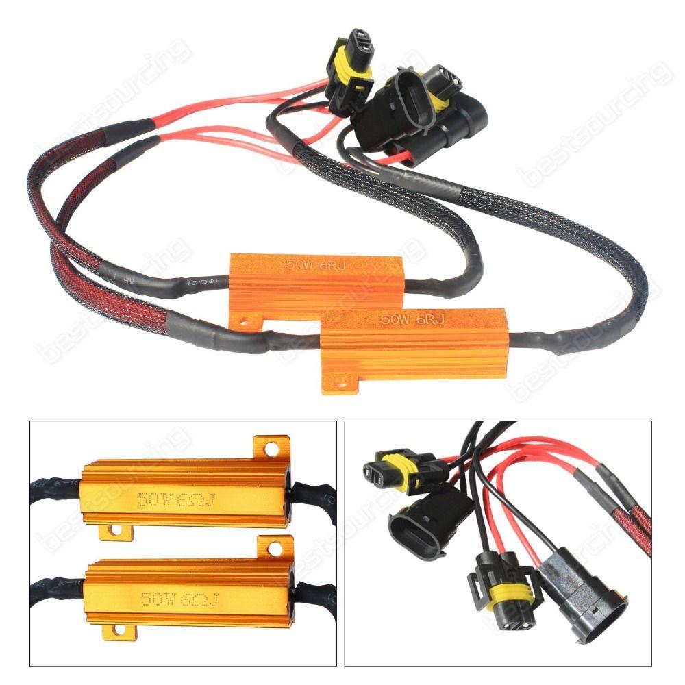 2pcs H8 H11 LED Headlight DRL Fog Light Load Resistors Wiring Harness Canbus(CA297)