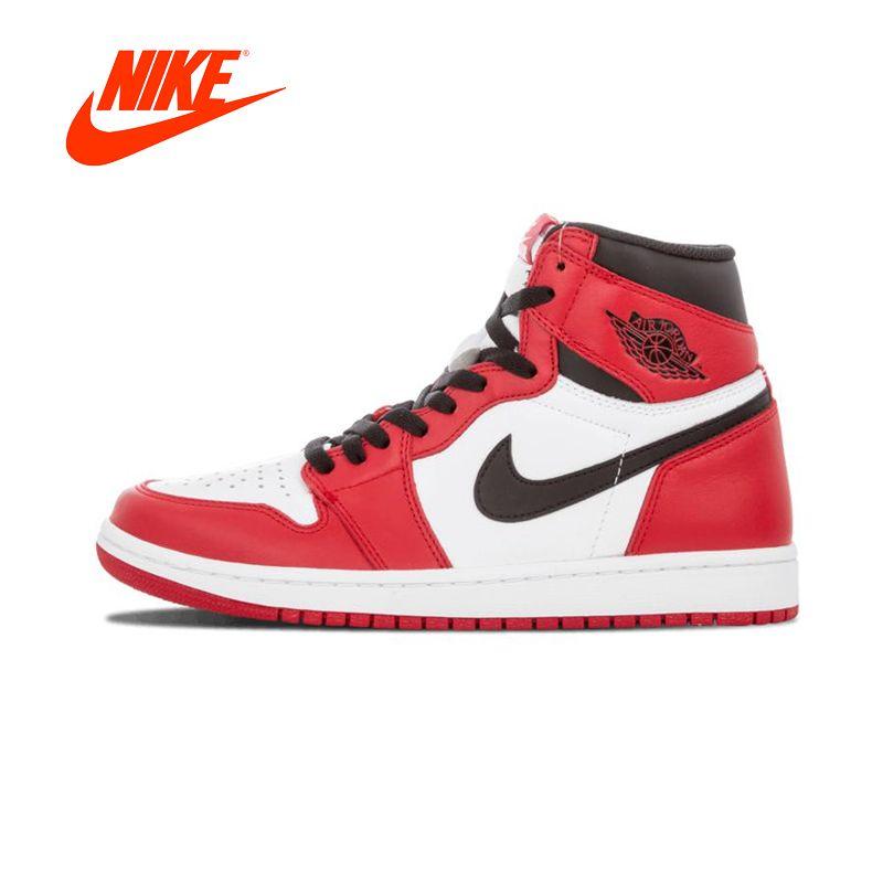 Authentic Red White Nike Air Jordan 1 Men's Basketball Shoes Men Sports Sneakers Retro High-top OG Breathable Outdoor Designer