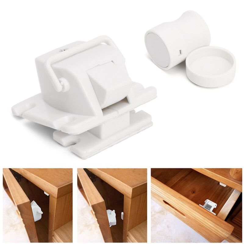 4Pcs Magnetic Cabinet Locks Child Proof Cupboards Drawers Invisible Baby Safety w15