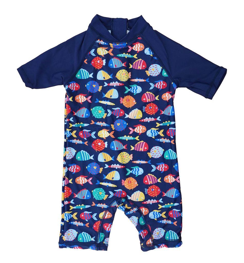 Bonverano (TM) Baby Jungen Sunsuit Bademode UPF 50 + Sonnenschutz S/S Reißverschluss Bunte Fische Eine Badeanzug Rashguard