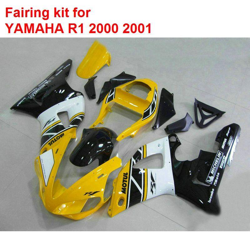 Aftermarket körperteile für Yamaha verkleidungen YZFR1 2000 2001 gelb schwarz weiß verkleidung-set YZF R1 00 01 BA80