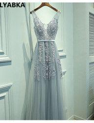 Sexy V-ausschnitt Abendkleid Robe De Soiree 2019 Hohe Qualität Grau Tüll Mit Applikationen Abend Kleider Real Photo Vestido De festa
