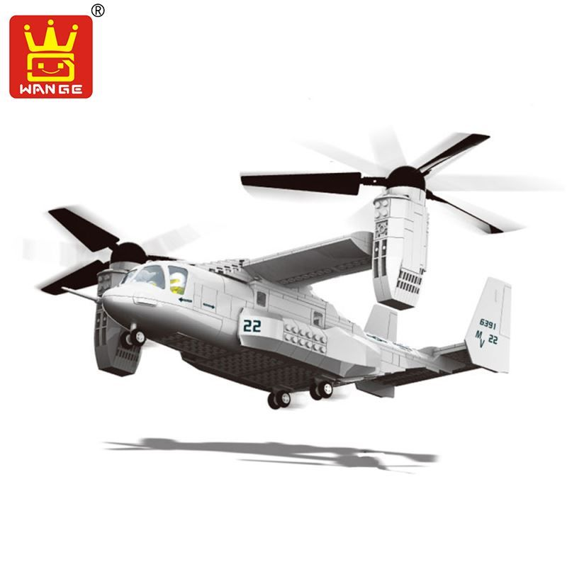 Wange Building Blocks Military F15 Fighter J-15 V-22 Osprey Tiltrotor Aircraft Helicopter Model Building Kits Toys For Children