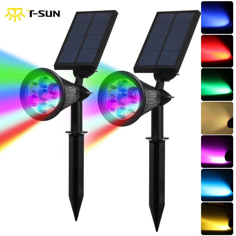 T-SUNRISE 2PCS 7 LED Outdoor Lighting Solar Spotlight Auto Color-Changing Waterproof Solar Powered Security Landscape Wall Light
