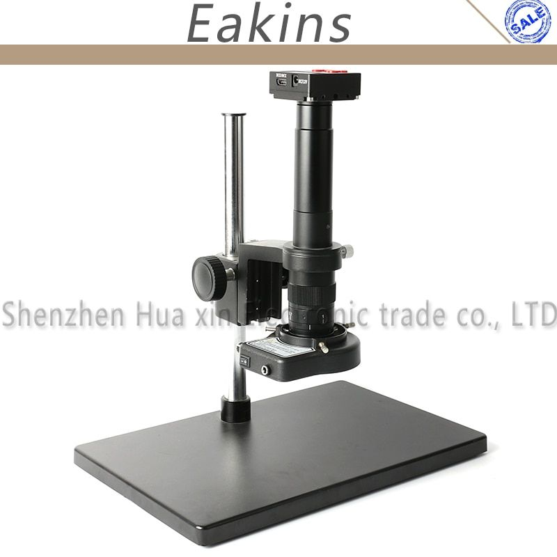 1080p 16MP HDMI HD Digital Industry Video Microscope Camera Set TF Video + 180X 300X C-Mount Lens + Table Stand + 144 LED Light