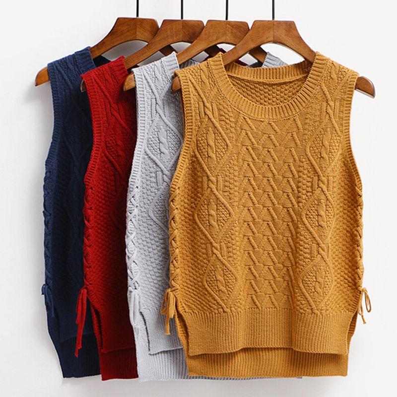Autumn new fashion lace up waistcoat vest Women twists o neck knitted sweater vest Side split women pullover vests femme