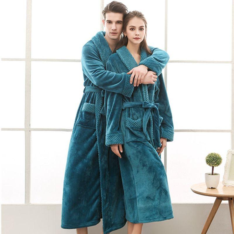 Women Winter Bathrobe Long Knitted Flannel Coral Fleece Bath Robe Warm NightGown Bride Bathrobes Dressing Gown Thicken Nightwear