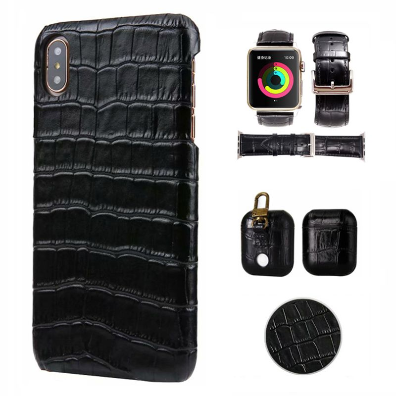 Real leather Crocodile Pattern Retro Case for iPhone x xr xs max 6s 7 8 plus AirPods Watch strap back Cover Case