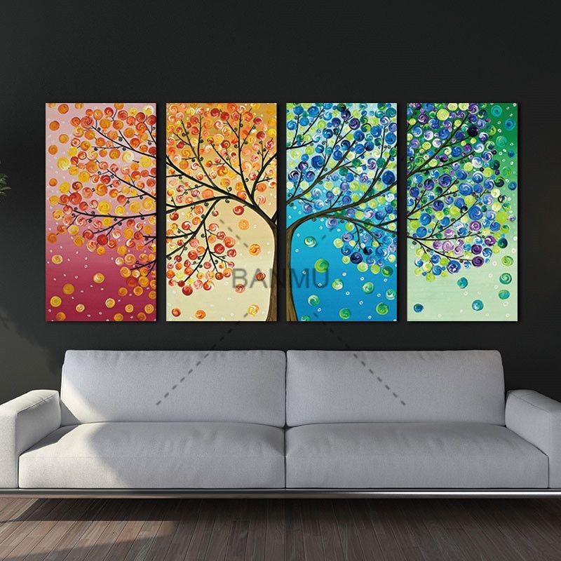 Toile peinture affiche coloré feuille arbres 4 pièce peinture mur Art modulaire photos pour décor maison mur art photo peinture