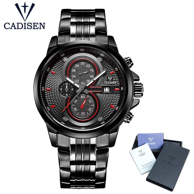 2018 New CADISEN Hot Quartz Men Watch Stainless steel Military Army Fashion Sports Luxury Brand Waterproof Top relogio masculino