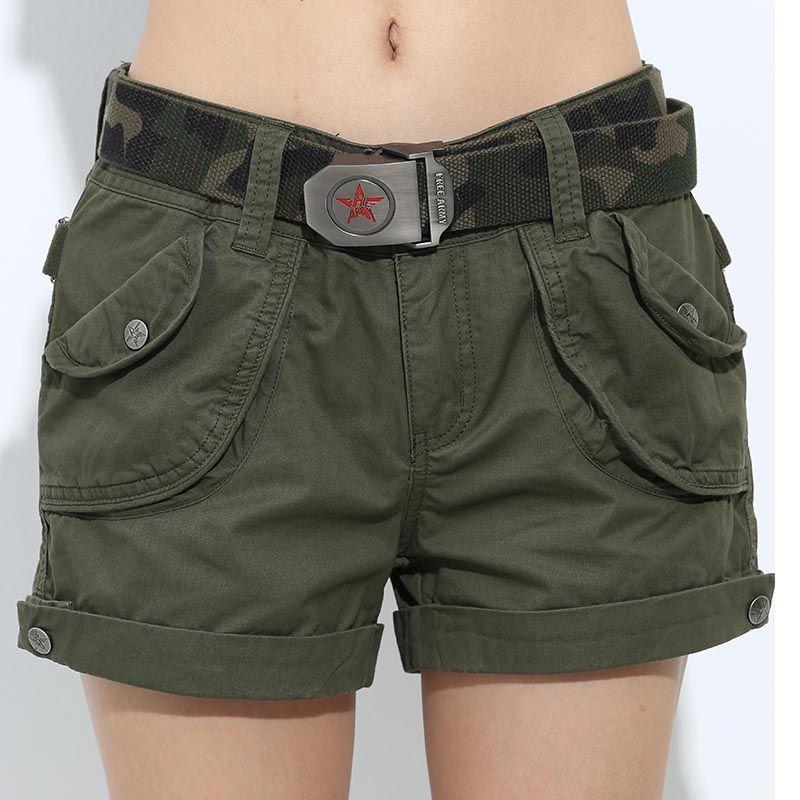 Marque Laides Shorts Femmes Shorts Occasionnels Lâche Poches Fermeture Éclair Militaire Armée Vert Grand D'été Dames Shorts Extérieur Plus Taille