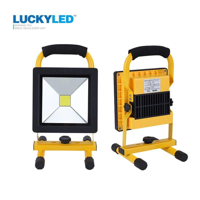 LUCKYLED ultra-mince a mené la lumière d'inondation 10 W 20 W Étanche IP65 rechargeable Projecteur portatif Projecteur lampe camping lumière
