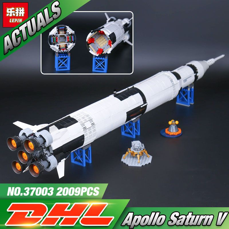 1969Pcs Lepin 37003 Creative Series The Apollo Saturn V Launch Vehicle Set Children Building Blocks Bricks Educational Toy 21309