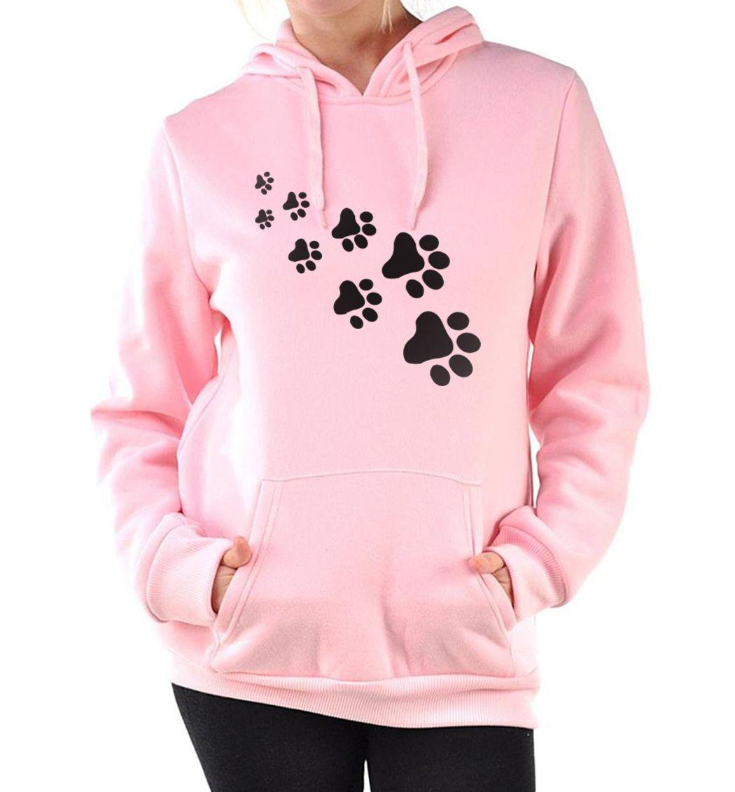 Повседневное флис осень зимняя толстовка пуловеры 2017 Каваи кошка лапы куртки с капюшоном и принтом для Для женщин черный розовый бренд кост...