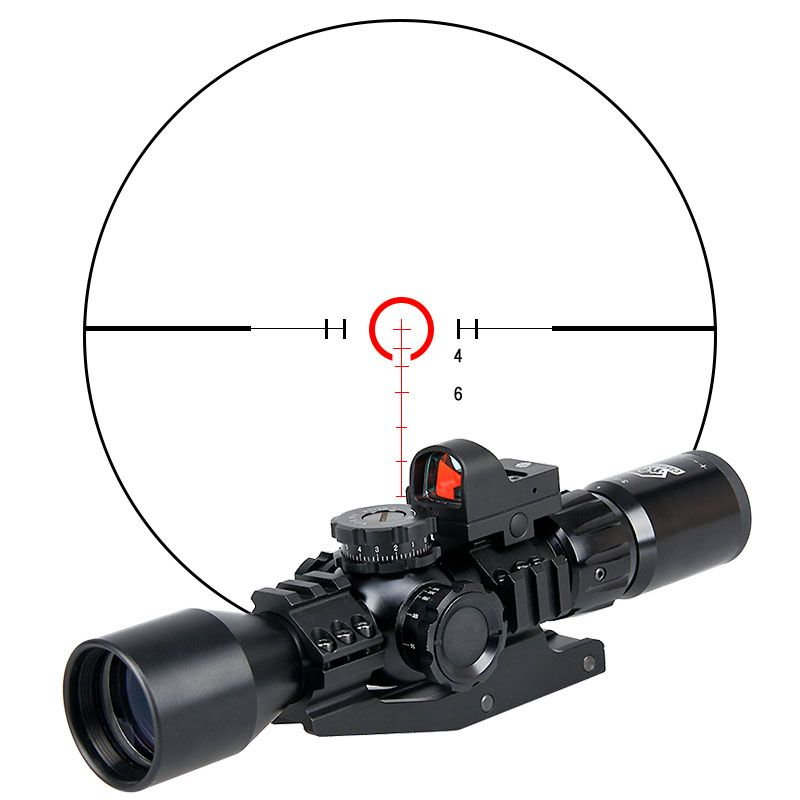 New Canislatrans Tactical Military 3-9x40FIRF Rifle Scope + Mini Red Dot Sight For Outdoor Hunting Shooting OS1-0335