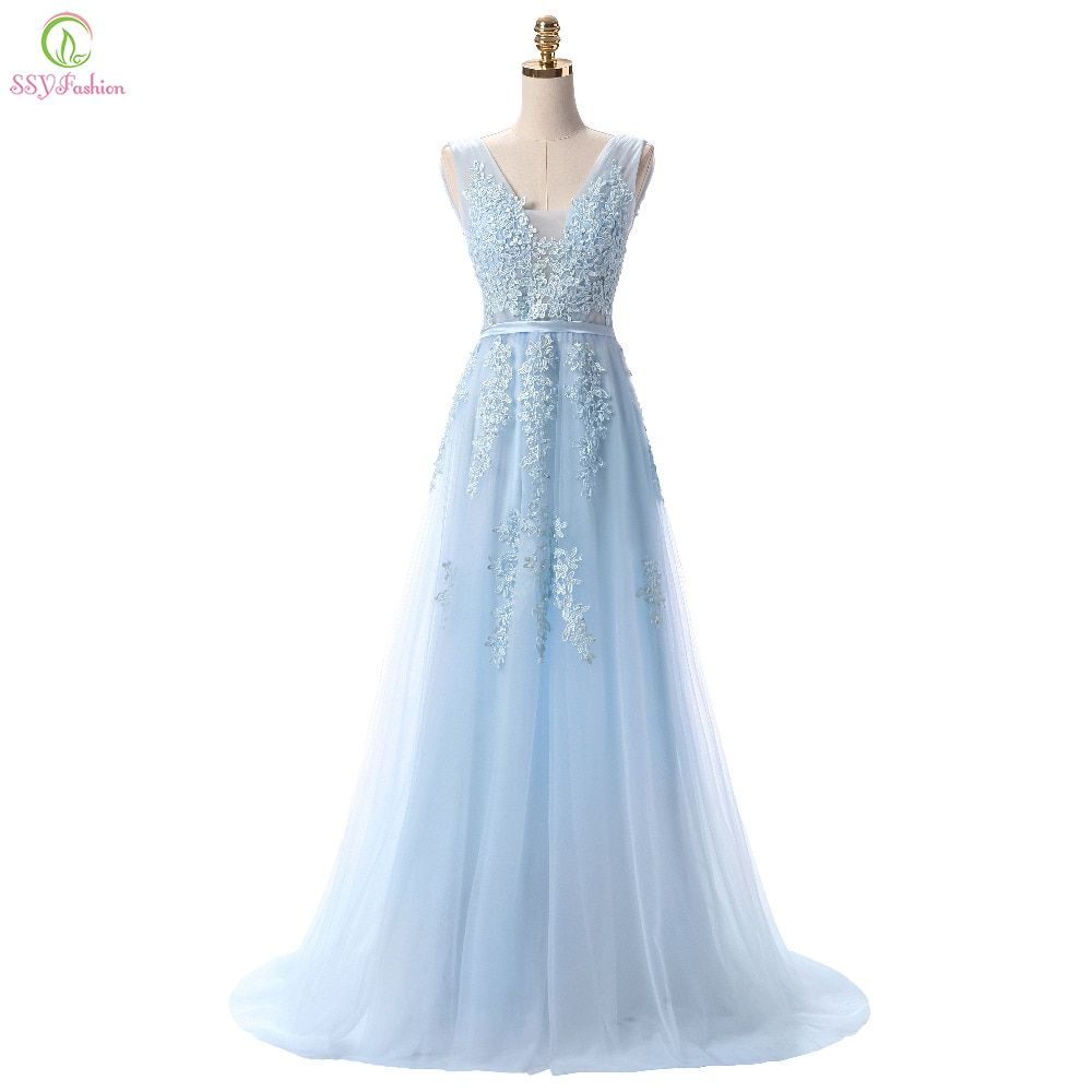 SSYFashion Hot Sell Sweet Light Blue Lace V-neck Lacing Long Evening Dress The Bride Party Sexy Backless Prom Dresses Custom