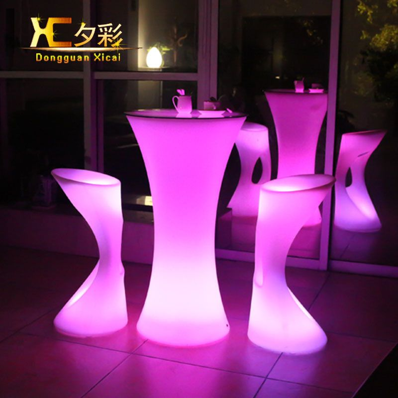 LED Bar Table Plastic Luminous Furniture High Whiskey Cocktail Drinking Table For Living Room Dining Room Garden Club Party Desk