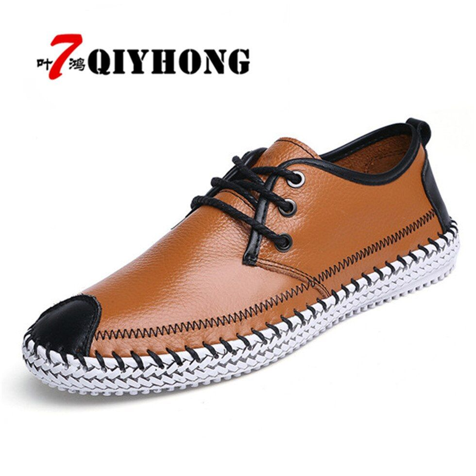 Fashion Casual Luxury QIYHONG Brand 2018 men leather shoes  Summer Breathable Soft Genuine Leather Flats Loafers Men Shoes