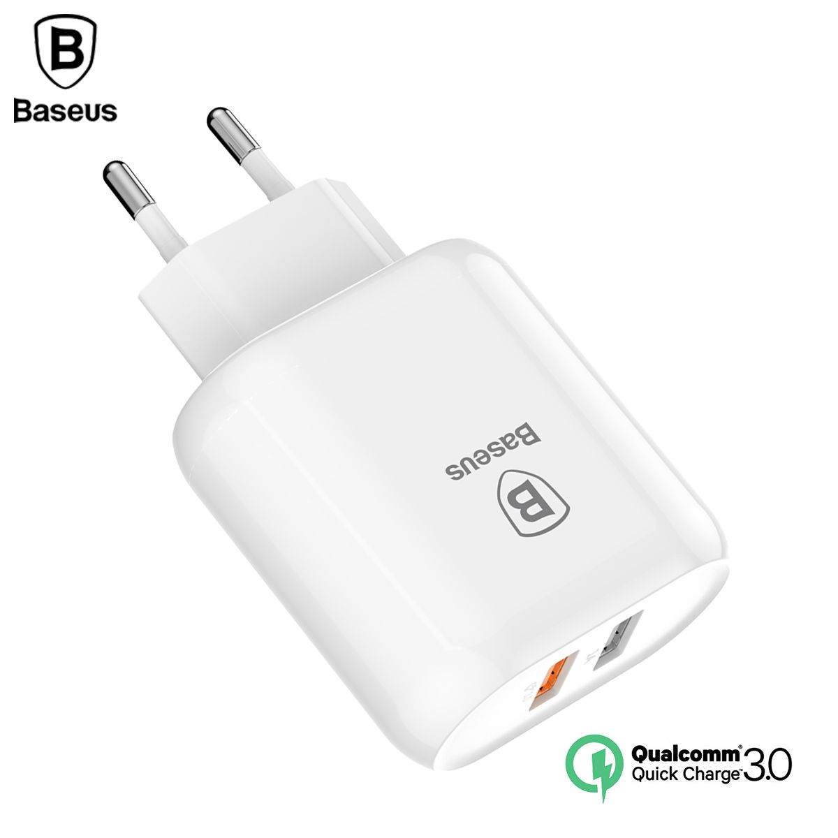 Baseus QC 3.0 Dual USB Charger <font><b>Adapter</b></font> EU Plug Travel Wall Quick Charge Charger For iPhone Samsung Xiaomi Mobile Phone Charger