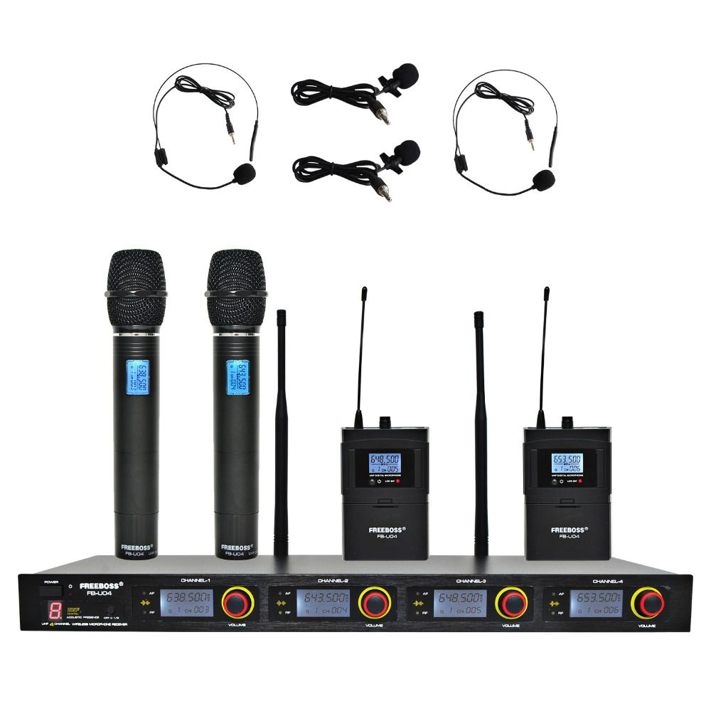 FREEBOSS FB-U04H2 Professional Microphones UHF KTV Party Mic System 2 Handheld and 2 Headset Wireless Karaoke Microphone