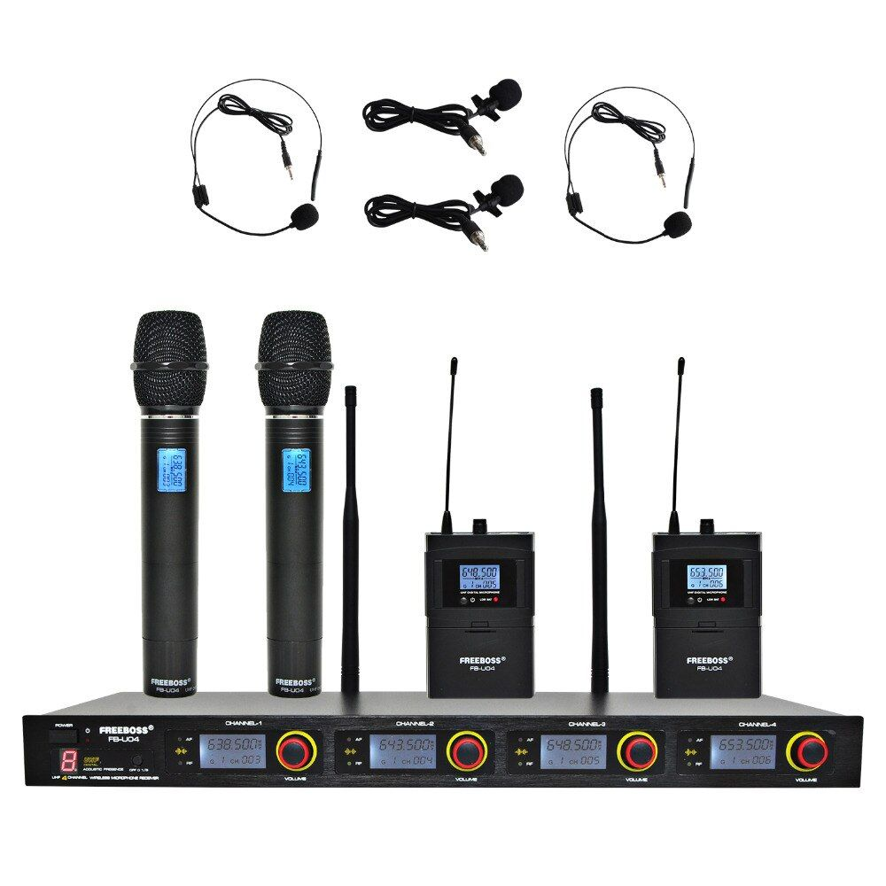 FREEBOSS FB-U04H2 Professional Microphones UHF KTV Party Mic System 2 Handheld and 2 Headset Wireless Karaoke Microphone