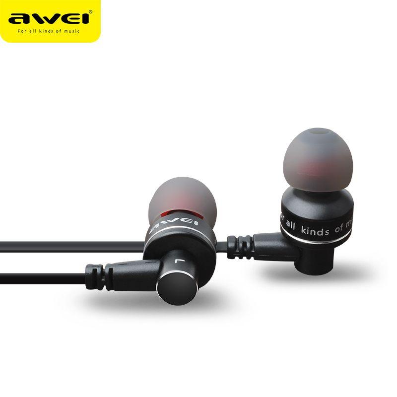 AWEI ES-10TY Métal Stéréo In-Ear Filaire Écouteurs Antibruit Écouteurs Super Bass HIFI Kulakl k Avec Mic Pour iPhone Andriod
