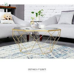 Louis fashion  tea table  Nordic furniture creative small family living room steel glass transparent table modern simplicity