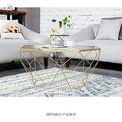 Louis table à thé de mode Nordique meubles creative petite famille salon acier verre transparent table moderne simplicité