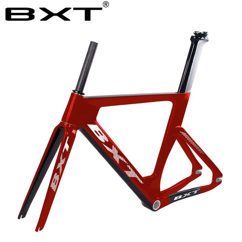 BXT 2018 new full carbon track rahmen road rahmen fixed gear bike frameset mit gabel sitz post 49/51 /54cm carbon fahrrad rahmen