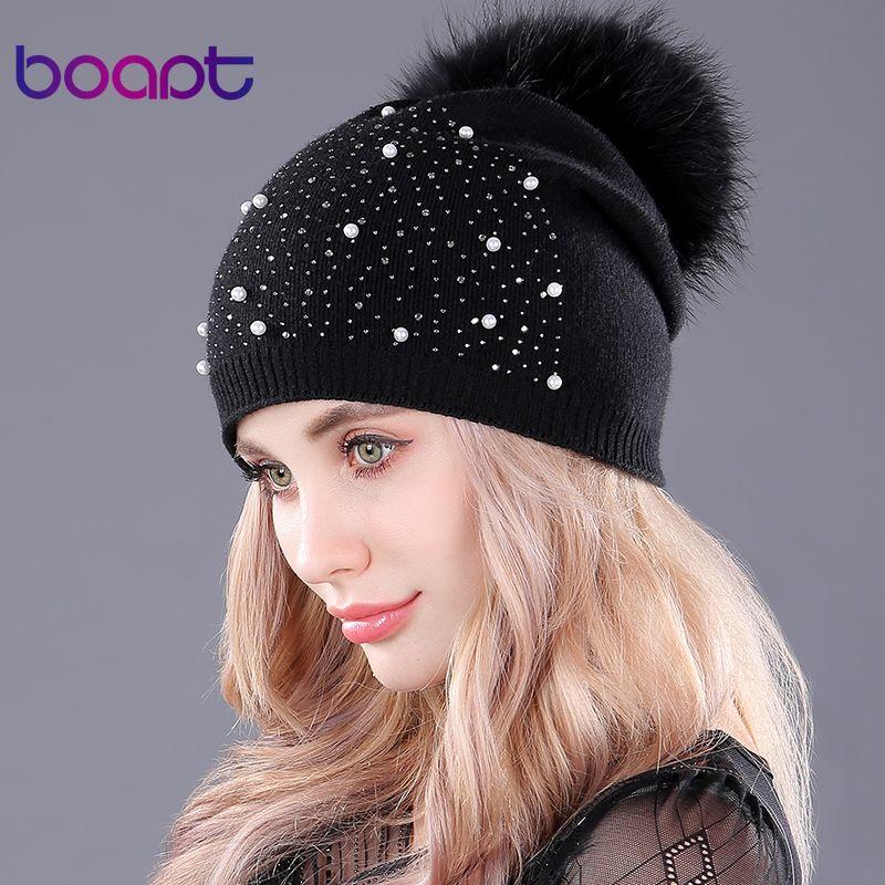 [boapt] rhinestones diamond pearl double-deck knitted <font><b>cashmere</b></font> winter hats women cap real raccoon fur pompom hat female beanie