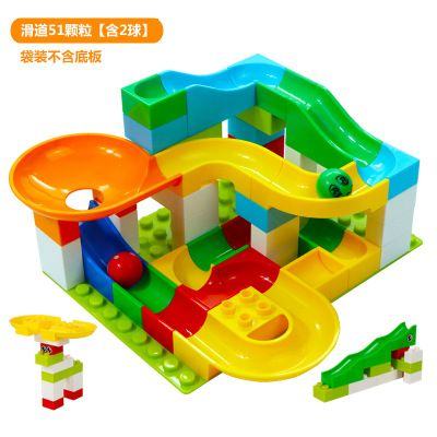Dolle Knikkerbaan Slide Building Toy Block Table Ball Parts Compatible Duplo DIY Colorful Building Blocks Children Toys
