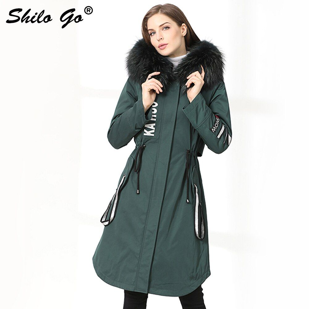 Womens Winter Long Parkas Coats Thick Parkas Plus Size Green Zipper Real Racoon Collar Hooded Rabbit Lining Outwear Fur Coat