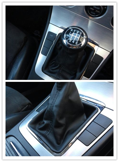Livraison rapide 6 vitesses levier de vitesse voiture cuir véritable recouvert de Chrome pour VW Passat B6 CC 3C R36 TDI TFSI TSI 2005-2013