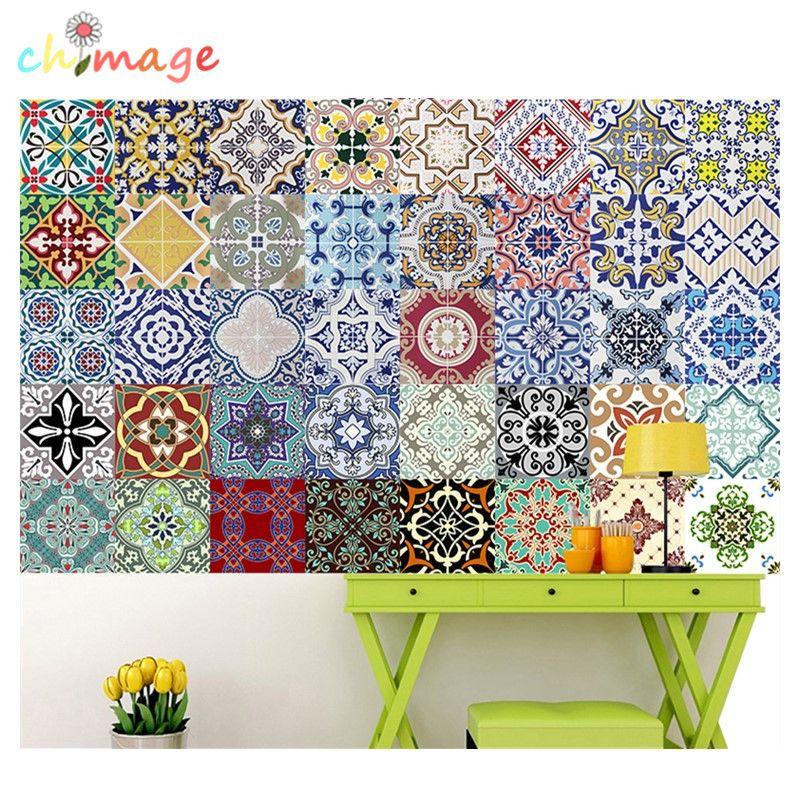Mediterranen stil Selbstklebende Fliesen Kunst Wandtattoo DIY Küche Bad Home Decor Vinyl B
